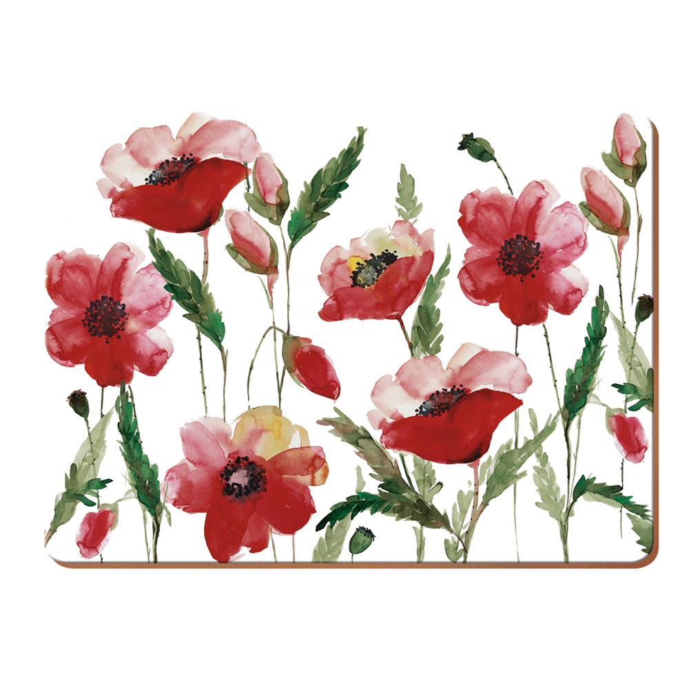 Набор пробковых подставок под тарелки Kitchen Craft Poppies, 40 х 29 см, 4 пр.