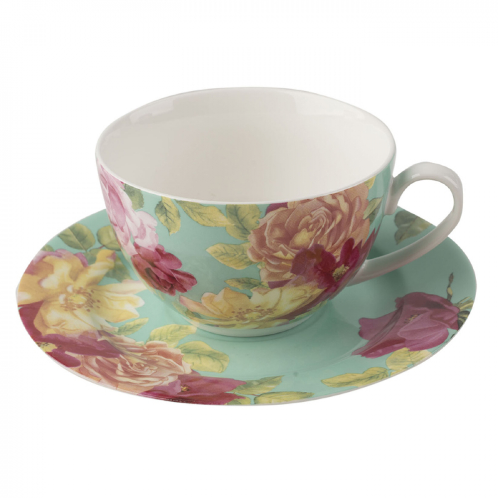 Чашка с блюдцем CreativeTops SOUTHBOURNE ROSE, фарфор, зеленая, 250 мл