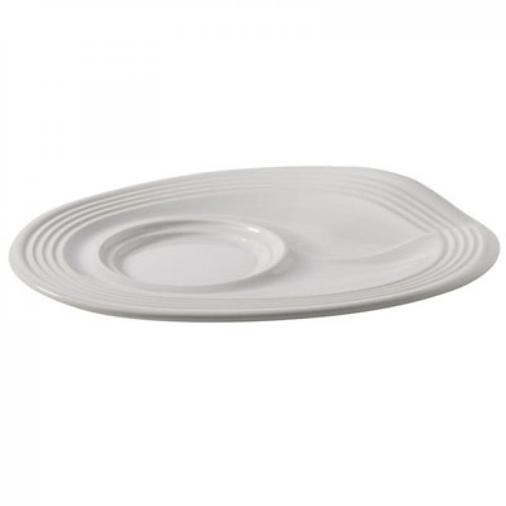 Мятое блюдце для капуччино Revol, белое, 17,5х13,5х2,5 см