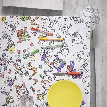 Скатерть Atenas Home Textile Animals + фломастеры 12 шт., хлопок с полиэстером