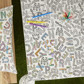 Скатерть Atenas Home Textile Alphabet + фломастеры 12 шт., хлопок с полиэстером