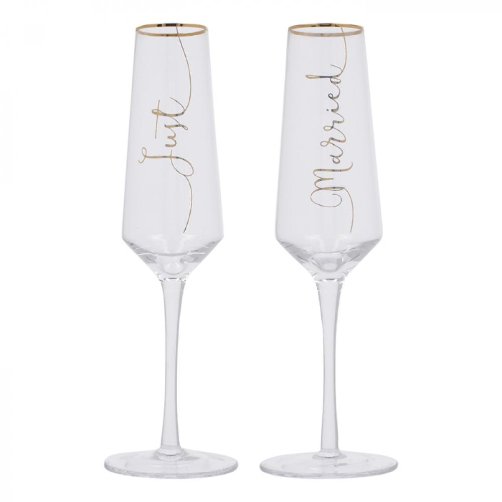 Набор бокалов для шампанского CreativeTops Just Married Wedding Belles, 250 мл, 2 шт.