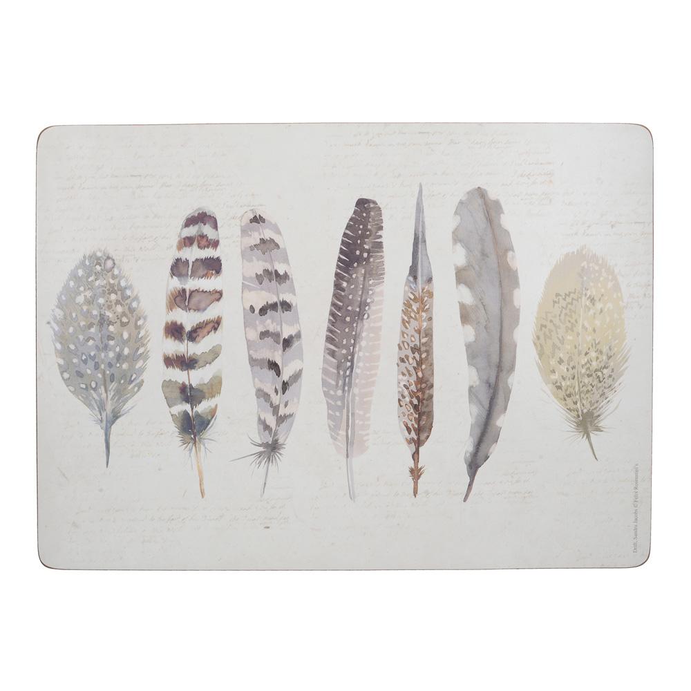 Набор пробковых подставок под тарелки Kitchen Craft Feathers, 40 х 29 см, 4 пр.